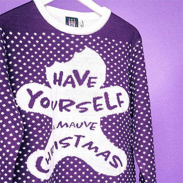 "Christmas Sweater ""Have Yourself A Mauve Christmas"""